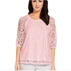 Adrianna Papell lace 3/4 sleeve top warm blush